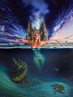 Roland-H.-Heyder-Akt-Erotik-Akt-Frau-Landschaft-See-Meer-Gegenwartskunst-Postsurrealismus