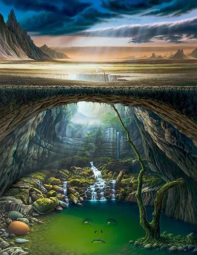 Roland H. Heyder, Die Oase, Landschaft: Berge, Natur: Wasser, Postsurrealismus, Expressionismus