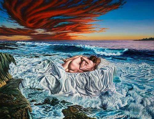 Roland H. Heyder, Mutter Erde, Landschaft: See/Meer, Menschen: Paare, Hyperrealismus, Expressionismus