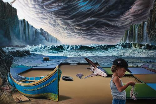 Roland H. Heyder, No!, Landschaft: See/Meer, Natur: Erde, Hyperrealismus, Abstrakter Expressionismus