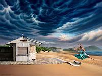 Roland-H.-Heyder-Landschaft-See-Meer-Menschen-Frau-Moderne-Fotorealismus-Hyperrealismus