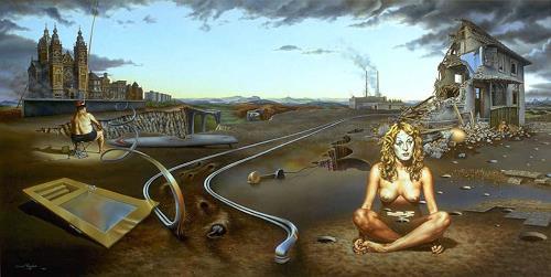 Roland H. Heyder, Hoffnungslos, Akt/Erotik: Akt Frau, Gefühle: Depression, Hyperrealismus, Abstrakter Expressionismus