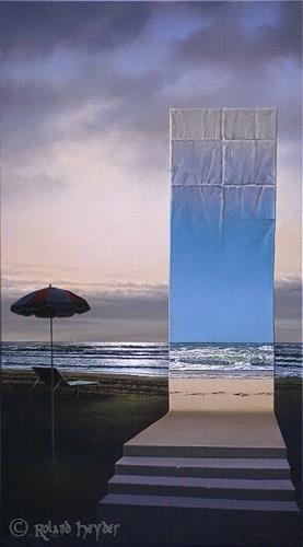 Roland H. Heyder, Abends am Strand, Landschaft: See/Meer, Natur: Wasser, Hyperrealismus, Expressionismus