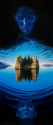 Roland H. Heyder, Die Toteninsel, Landschaft: See/Meer, Fantasie, Fotorealismus, Expressionismus