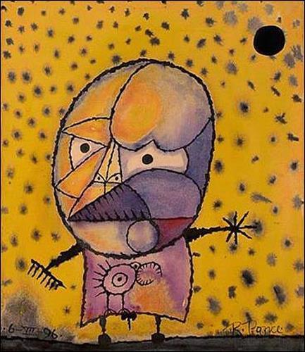 Ricardo Ponce, Extraterrestre con pájaro, Skurril, Menschen: Mann, Art Brut, Expressionismus