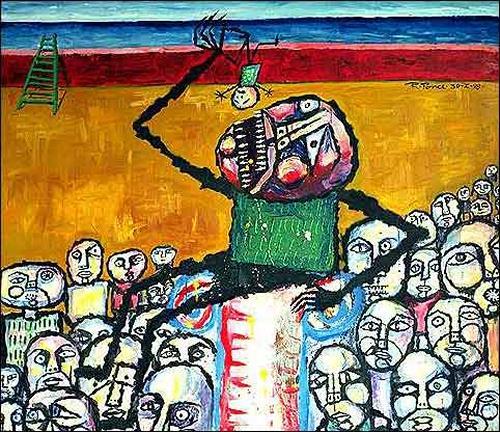 Ricardo Ponce, El carnaval de Saturno, Skurril, Menschen: Gruppe, Art Brut, Abstrakter Expressionismus