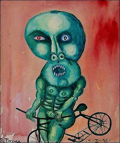 Ricardo Ponce, El ciclista verde, Verkehr: Fahrrad, Skurril, Abstrakter Expressionismus