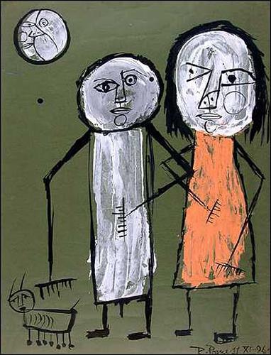 Ricardo Ponce, Paseo nocturno, Diverse Romantik, Menschen: Paare, Abstrakter Expressionismus