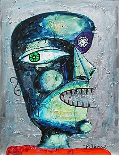 Ricardo Ponce, O/T, Menschen: Porträt, Skurril, Art Brut, Abstrakter Expressionismus