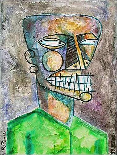 Ricardo Ponce, Negro, Gefühle: Aggression, Menschen: Porträt, Art Brut, Abstrakter Expressionismus