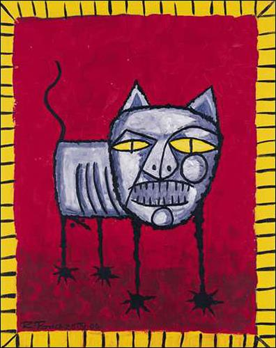 Ricardo Ponce, Gato, Tiere: Land, Diverse Tiere, Art Brut, Abstrakter Expressionismus