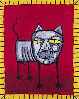 Ricardo-Ponce-Tiere-Land-Diverse-Tiere-Moderne-Abstrakte-Kunst-Art-Brut