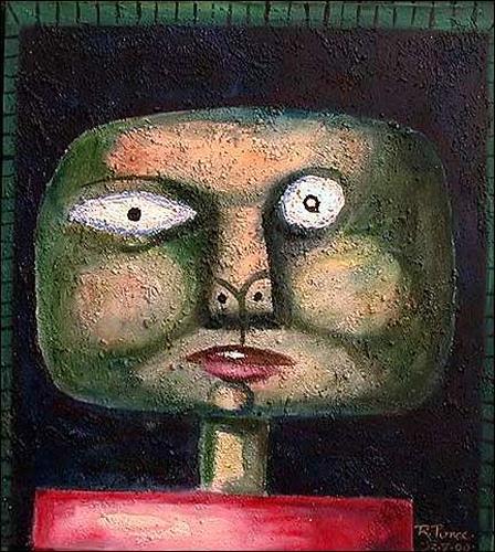 Ricardo Ponce, Cabeza Cosmico, Menschen: Porträt, Diverses, Art Brut, Abstrakter Expressionismus