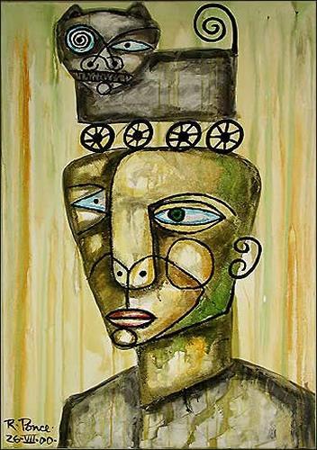Ricardo Ponce, Personaje Y Gato, Humor, Symbol, Symbolismus, Expressionismus