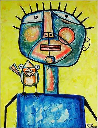 Ricardo Ponce, Personajo Y Pajaro, Tiere: Luft, Humor, Expressionismus