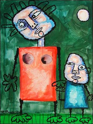 Ricardo Ponce, Madre E Hijo, Poesie, Menschen: Familie, Naive Kunst, Expressionismus