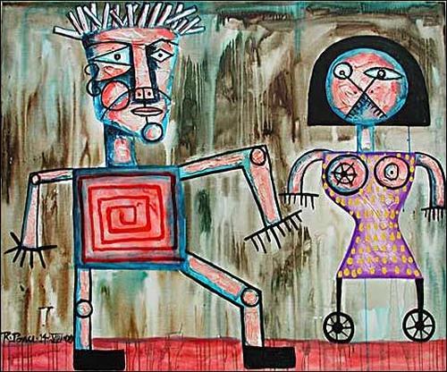Ricardo Ponce, Yaser Y La Mujer Pajaro, Menschen: Paare, Diverses, Pop-Art, Abstrakter Expressionismus