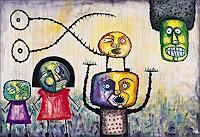 Ricardo-Ponce-Menschen-Familie-Situationen-Moderne-Abstrakte-Kunst