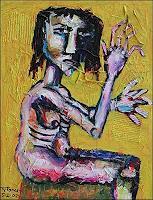 Ricardo-Ponce-Menschen-Frau-Gefuehle-Angst-Moderne-Abstrakte-Kunst-Art-Brut