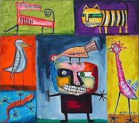 Ricardo-Ponce-Diverse-Tiere-Symbol-Moderne-Abstrakte-Kunst-Art-Brut