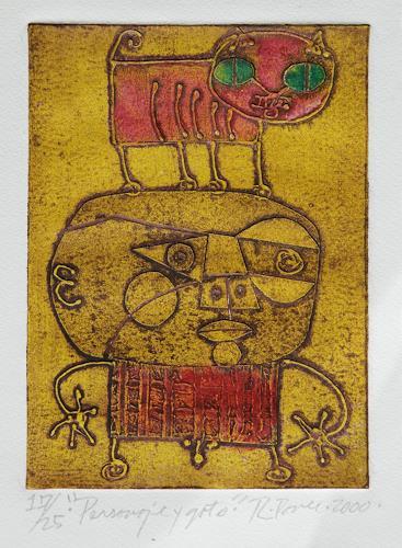 Ricardo Ponce, Personaje Y Gato, Diverse Menschen, Symbol, Art Brut, Abstrakter Expressionismus