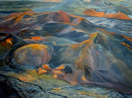 Theresia Züllig, Vulkanlandschaft, Natur: Feuer, Landschaft: Hügel, Naturalismus, Expressionismus