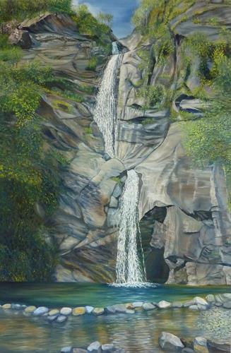 Theresia Züllig, fallendes Wasser Tessin, Natur: Wasser, Diverse Landschaften, Naturalismus