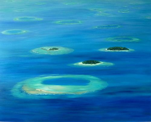 Theresia Züllig, Flug über den Malediven, Landschaft: See/Meer, Natur: Wasser, Naturalismus