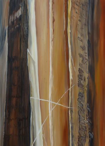 Theresia Züllig, Palmenrindenimpression 1, Pflanzen: Bäume, Natur: Wald, Naturalismus