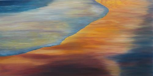 Theresia Züllig, Sonnenuntergang am meer, Natur: Wasser, Landschaft: Strand, Naturalismus, Abstrakter Expressionismus