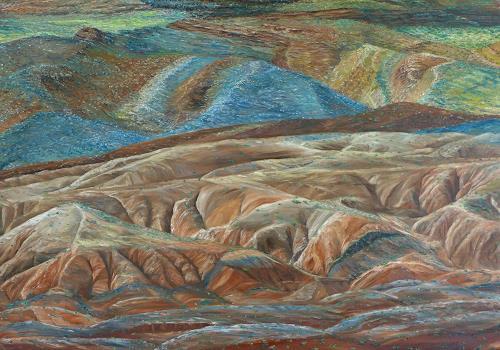 Theresia Züllig, Farbige Landschaft Utha USA, Natur: Erde, Landschaft: Hügel, Naturalismus