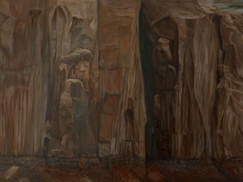 Theresia Züllig, geheimnisvolle Steinwand USA, Diverse Landschaften, Natur: Gestein, Naturalismus