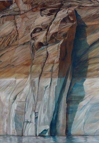 Theresia Züllig, lebendige Steinmauern am Lake Powell, Natur: Gestein, Landschaft: See/Meer, Naturalismus