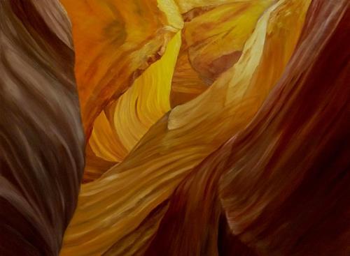 Theresia Züllig, Lichtspiel im Canyon, Natur: Erde, Landschaft: Hügel, Naturalismus, Expressionismus