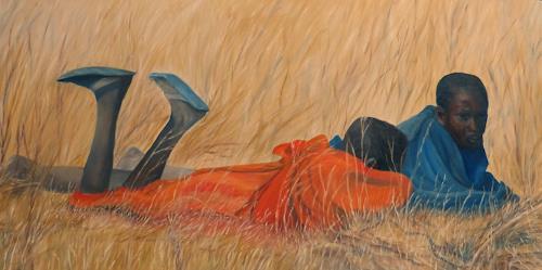 Theresia Züllig, Ausruhen Masai Tansania, Menschen, Landschaft, Naturalismus