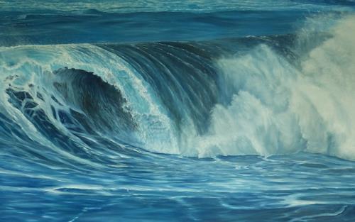 Theresia Züllig, Wellenrolle auf Teneriffa, Natur: Wasser, Landschaft: See/Meer, Naturalismus, Expressionismus