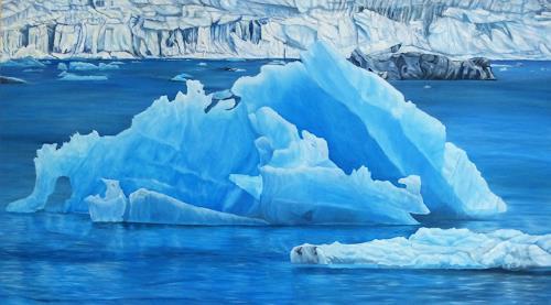 Theresia Züllig, Island, Landschaft: Winter, Natur: Wasser, Naturalismus, Expressionismus
