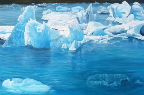 Theresia Züllig, Gletscherschmelzen, Natur: Wasser, Diverse Landschaften, Naturalismus, Expressionismus
