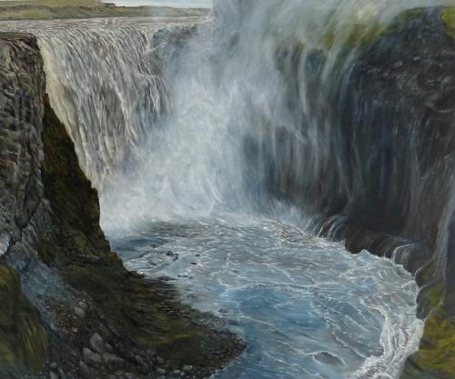 Theresia Züllig, Wasserfall Island, Landschaft, Natur: Wasser, Naturalismus, Expressionismus