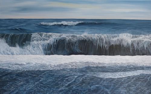 Theresia Züllig, Wellenrolle mi Vulkansand Island, Natur: Wasser, Landschaft: See/Meer, Naturalismus, Expressionismus