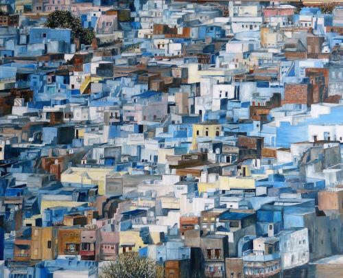 Theresia Züllig, Jodhpur ,blaue Stadt Indien, Diverse Bauten, Diverse Landschaften, Naturalismus, Abstrakter Expressionismus