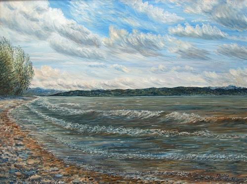 Theresia Züllig, Wellen am Strand Langenargen, Landschaft: See/Meer, Natur: Wasser, Naturalismus, Expressionismus