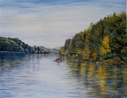 Theresia Züllig, Gübsensee, Natur: Wasser, Pflanzen: Bäume, Impressionismus