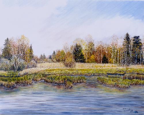 Theresia Züllig, Herbst Hudelmoos, Landschaft: Herbst, Natur: Wasser, Impressionismus