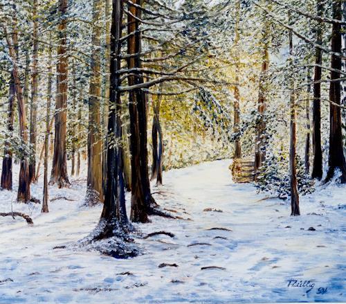 Theresia Züllig, Winterwald, Natur: Wald, Landschaft: Winter, Impressionismus, Expressionismus