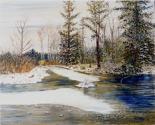 Theresia Züllig, Winter im Hudelmoos, Landschaft: Winter, Natur: Diverse, Impressionismus