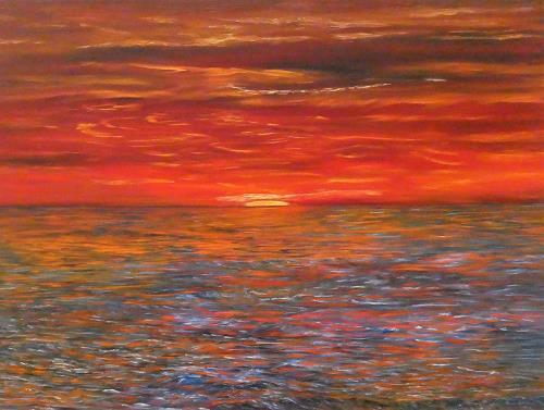 Theresia Züllig, Skagen Sonnenuntergang, Landschaft: See/Meer, Natur: Wasser, Impressionismus