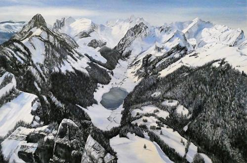 Theresia Züllig, Blick vom Hohen Kasten, Landschaft: Berge, Landschaft: Winter, Impressionismus, Expressionismus