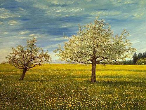 Theresia Züllig, Frühlingslandschaft im Thurgau, Landschaft: Frühling, Natur: Erde, Impressionismus, Naturalismus
