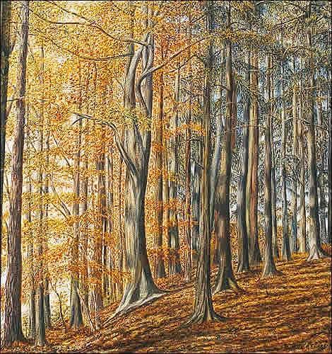 Theresia Züllig, Im Herbstmischwaldwald, Natur: Wald, Pflanzen: Bäume, Naturalismus, Naturalismus, Expressionismus